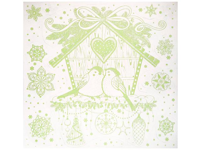 """Новогоднее украшение """"Скворечник"""" 30х29 см, оконное, с раскраской, светится в темноте, ПВХ пленка"""