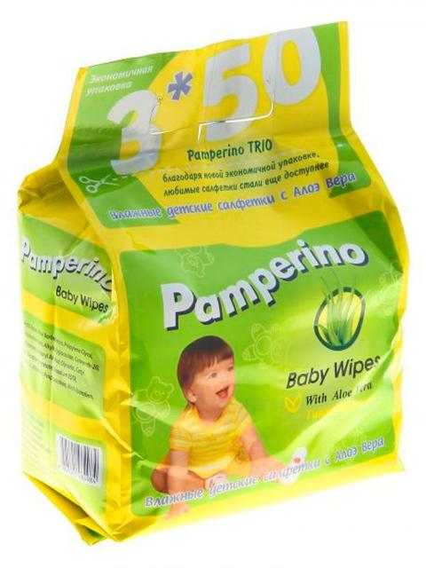 Салфетки влажные детские Pamperino TRIO, 3х50 штук