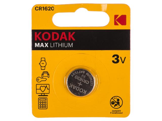 Батарейка литиевая (таблетка) Kodak CR1620-1BL (1 шт.) блистер