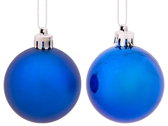 Елочное украшение Шар матовый синий, 5см, пластик