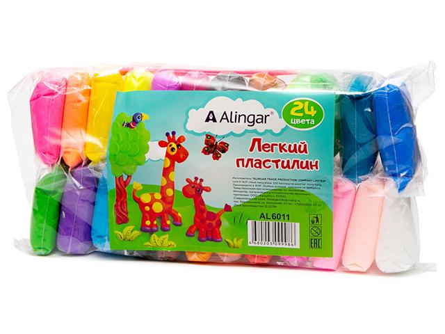 Пластилин Alingar, супер легкий, 24 цвета, со стеками, в пакете
