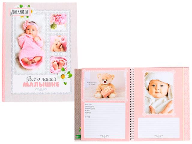 """Книга воспоминаний А5+ (смешбук) """"Все о нашей малышке"""" 23 листа"""