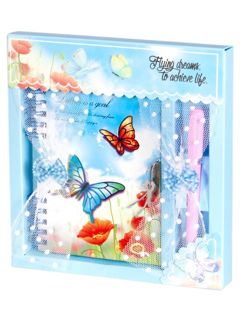 """Подарочный набор Alingar """"Бабочки за окном"""" (блокнот + ручка) голубой"""