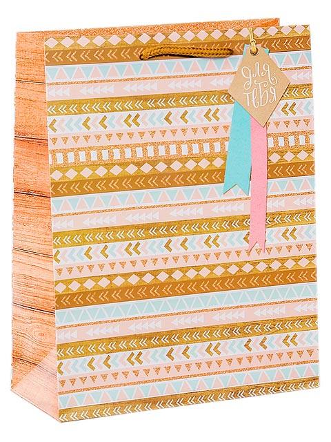 """Пакет подарочный бумажный 18х23х8 """"Для тебя"""" матовая ламинация"""
