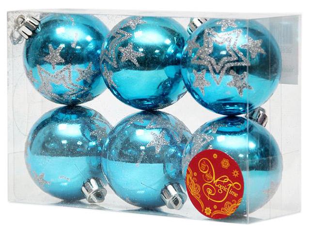 Набор елочных шаров MagicTime, 6 см, 6 шт, голубой с серебряным звездопадом, пластик