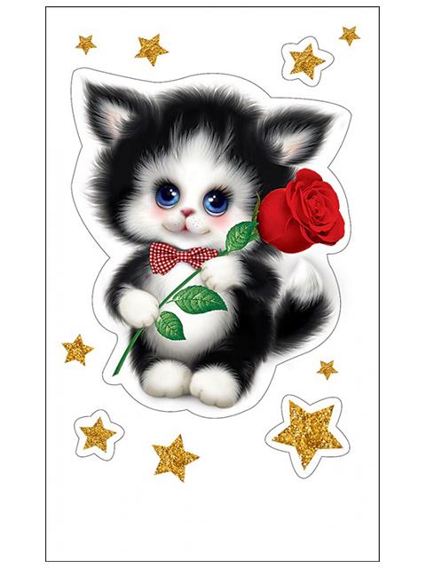 """Наклейки """"Котенок с розой"""" 4 шт на листе 9х15см"""