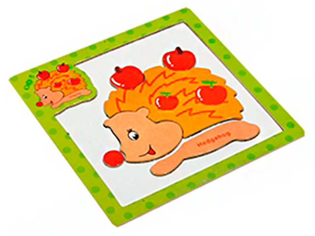 Пазл- рамка деревянная для малышей, магнитная Ёжик 6 эл. 15х15 см