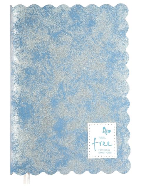"""Ежедневник недатированный A5 160 листов deVENTE """"Shadow"""" иск. кожа с аппликацией, бледно-голубой с серебром"""