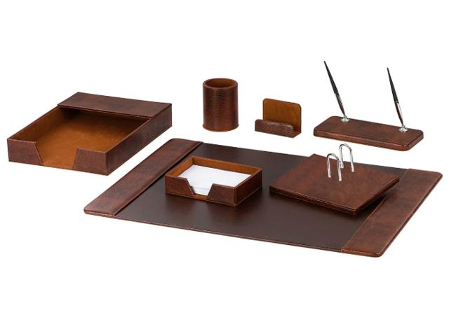 Настольный набор Galant из экокожи, 7 предметов, темно-коричневый