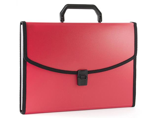 Портфель пластиковый А4 6 отд. Бюрократ с окантовкой, красный