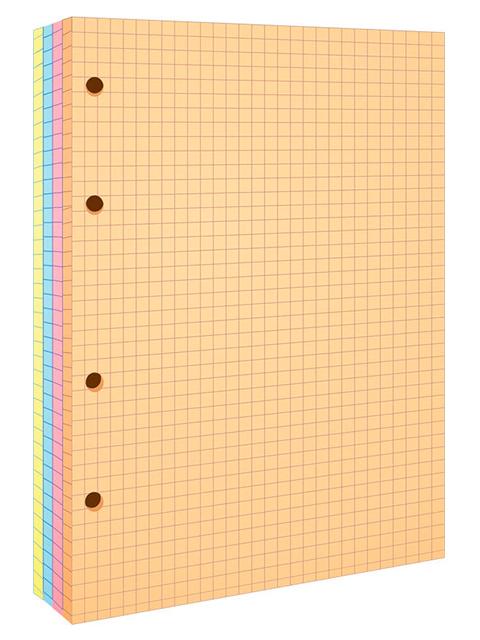 Сменный блок для тетрадей А5 200 листов, клетка OfficeSpace 4 цвета, пленка