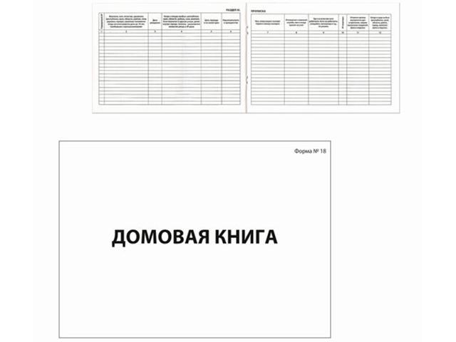 Домовая книга поквартирная А4 80 листов, форма №18, картон, блок офсет