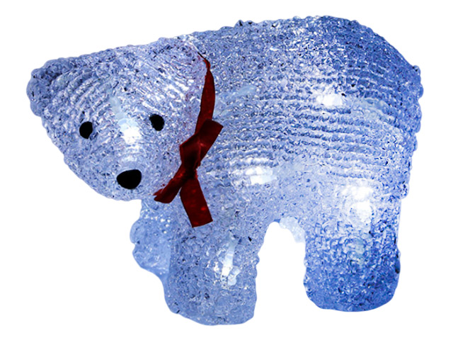 "Фигура световая ""Медвежонок"" 19х9х11 см, 12LED, белый, на батарейках (в комплект не входят)"