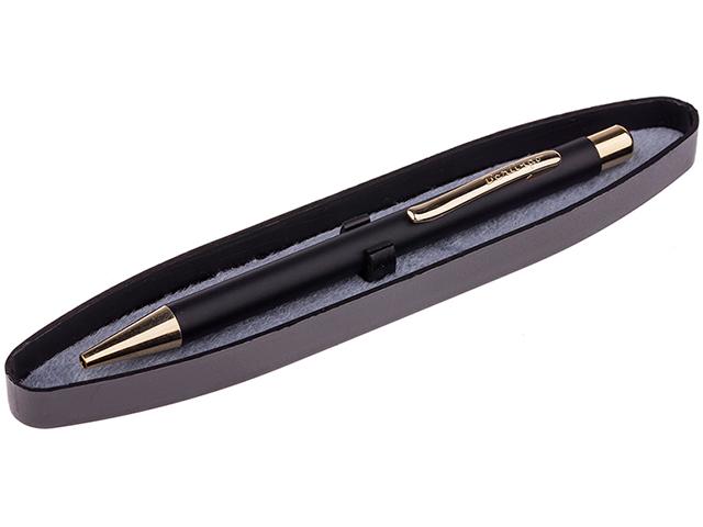"""Ручка шариковая Berlingo """"Golden Standart"""" 0,7 мм, автоматическая, корпус черный/золото, в футляре"""