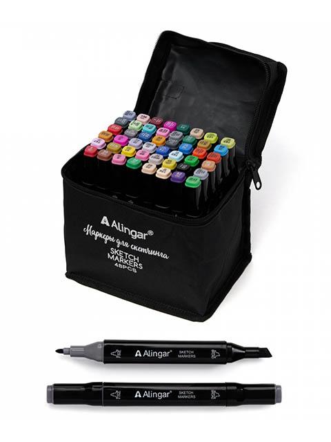 Набор маркеров для скетчинга Alingar, 1-6 мм, 48 цветов, двусторонние, в сумке