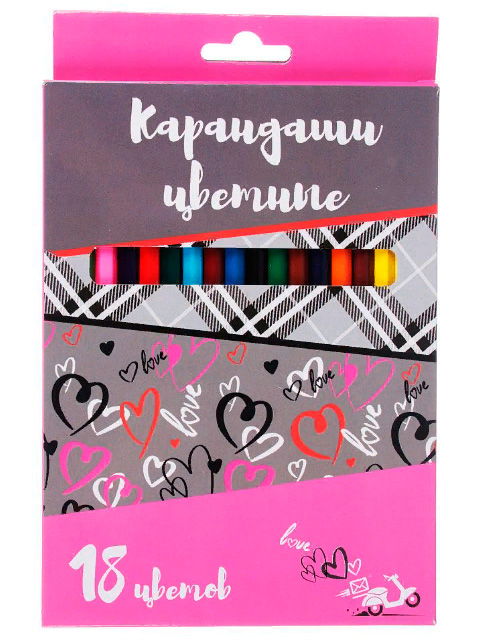 Карандаши цветные 18 цветов, заточенные, шестигранные, картонная упаковка, европодвес