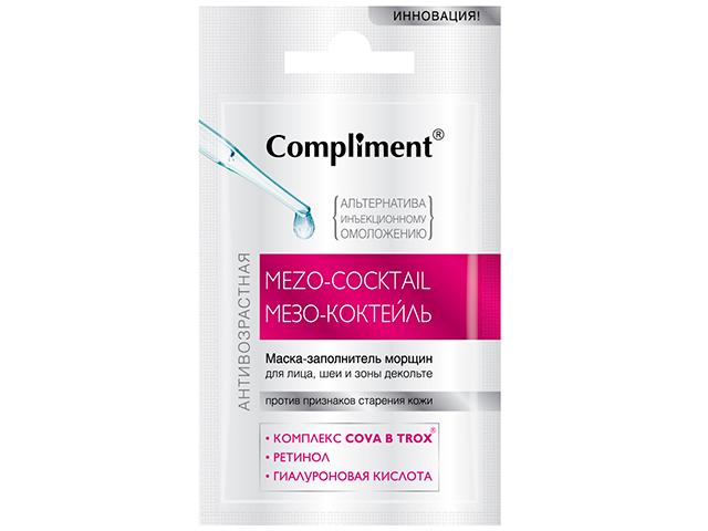 """Маска-заполнитель морщин для лица, шеи и зоны декольте """"Compliment. Мезо-коктейль"""" антивозрастная, саше 7мл"""