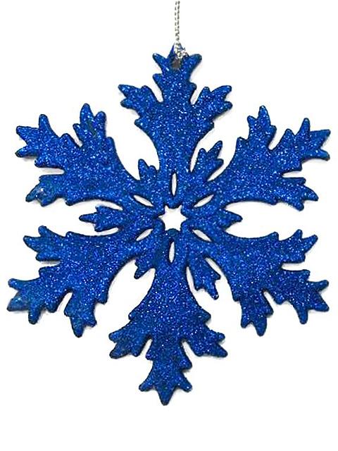 """Новогоднее украшение """"Снежинка голубая с блестками"""" 11,7х11,7х0,3 см, пластик"""