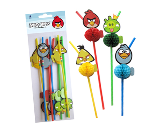 """Трубочки для коктейля Пати бум """"Angry Birds"""" 8шт."""