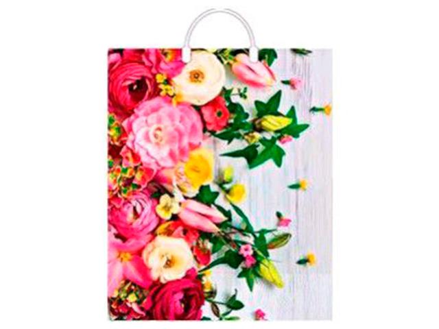 """Пакет """"петля"""" пластиковые ручки 38х45+3 Артпласт """"Нежные цветы"""""""