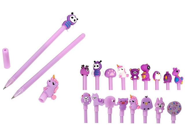 """Ручка шариковая Mazari """"CARTOON purple"""" 0,7мм, с фигуркой, синяя"""