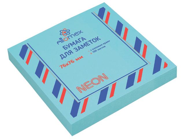 Блок для записей с клеевым краем Attomex 76х76 мм 100 листов, неоновый голубой