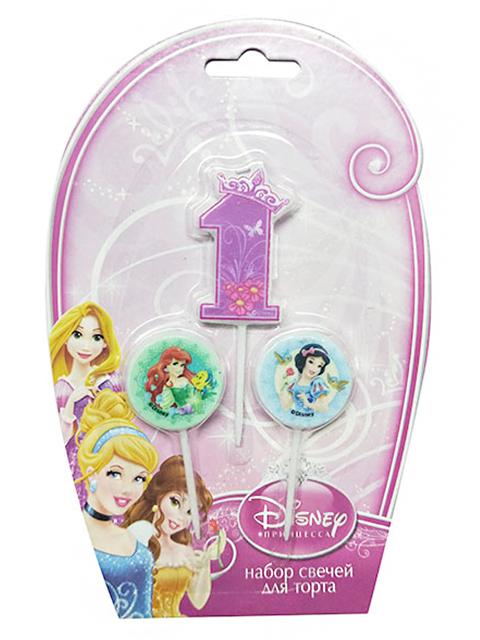 """Набор свечей для торта """"Дисней. Принцессы"""" (цифра """"1"""" и 2 медальона)"""