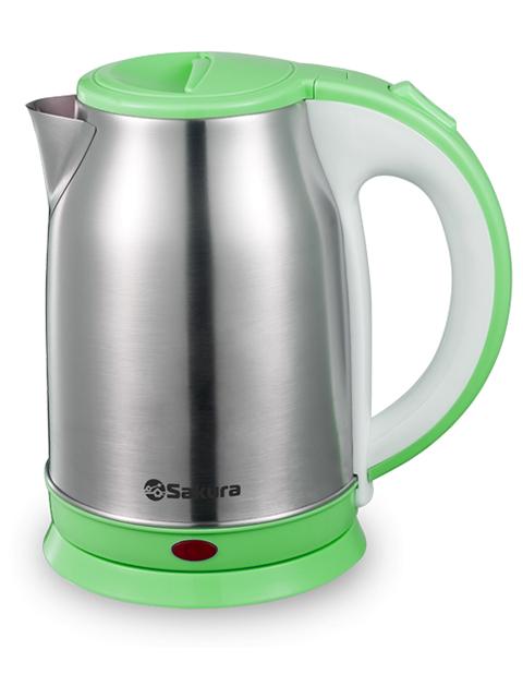 Чайник электрический Sakura SA-2147G 1,8л, 1800Вт, нерж. сталь, пластик зеленый