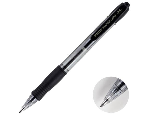 """Ручка шариковая автоматическая масляная PILOT """"Super Grip"""" 1,0 мм, корпус тонированный черный, черная"""