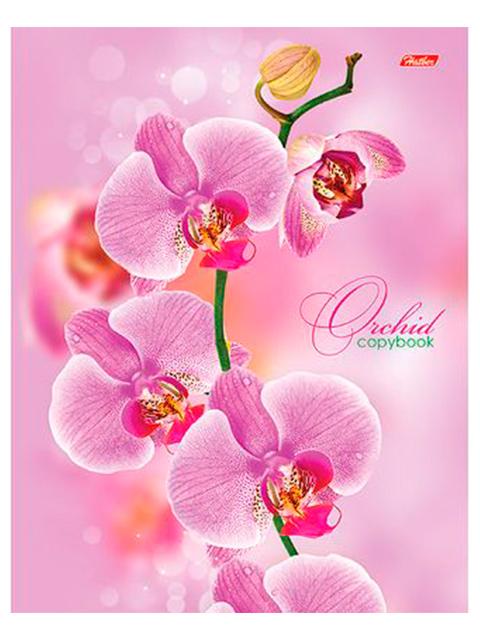 """Тетрадь А5 120 листов, клетка Хатбер """"Розовая орхидея"""" на кольцах"""