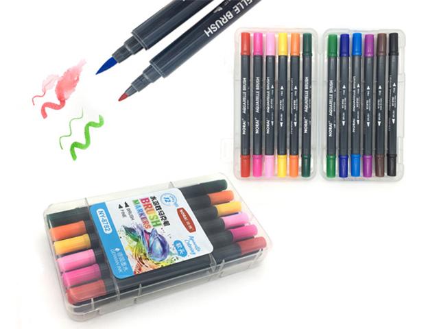 """Набор маркеров для скетчинга Intelligent """"BRUSH"""", 1-6 мм, 12 цветов, двусторонние, акварельные, в пластиковом пенале"""