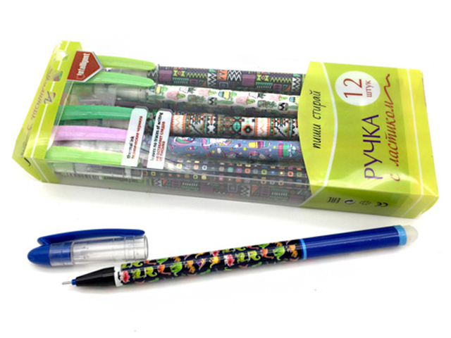 """Ручка пиши-стирай гелевая Intelligent """"Шпион. Орнамент"""" 0,5 мм, цветной корпус, ассорти, синяя"""