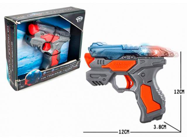 """Игрушечное оружие Пистолет """"На границе галактик. Бластер"""" 12 см, свет/звук, в коробке"""