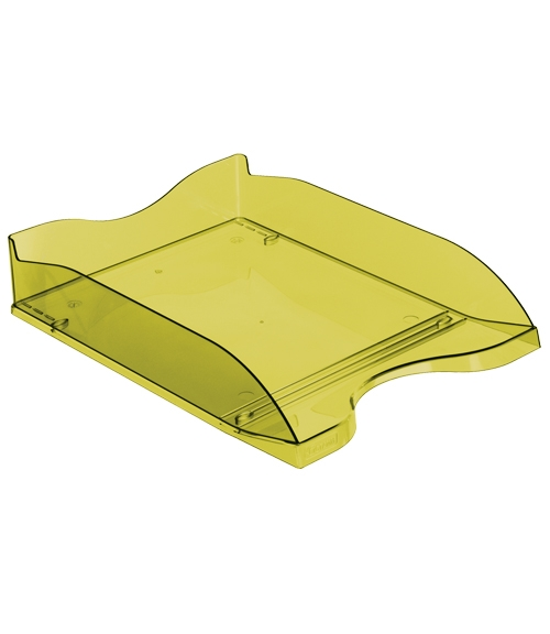 Лоток для бумаг СТАММ Люкс горизонтальный, тонированный зеленый ЛАЙМ