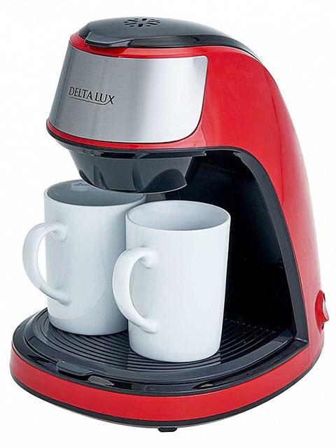 Кофеварка электрическая DELTA LUX DE-2002, 0,250л, 450Вт, красная 2 керамические кружки