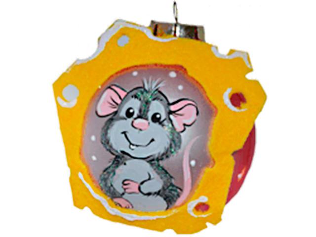 """Елочная игрушка Шар """"Малыш мышонок"""" 6,5 см, стекло, без упаковки"""