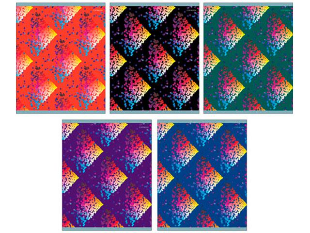 """Тетрадь А5 96 листов клетка Unnika """"Вспышки цвета"""" обложка мелованный картон, выборочный лак, на скрепке"""