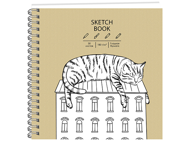 """Скетчбук (190х190) 30 листов PaperArt """"Draft and Craft. Дизайн 7"""" обложка крафт-картон, на евроспирали"""