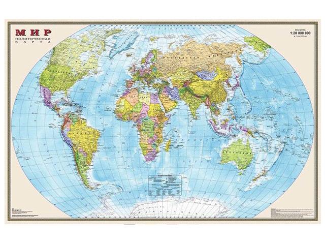 """Карта """"Мир политический"""" 1:15М, 197х127 см, настенная, с матовой ламинацией"""