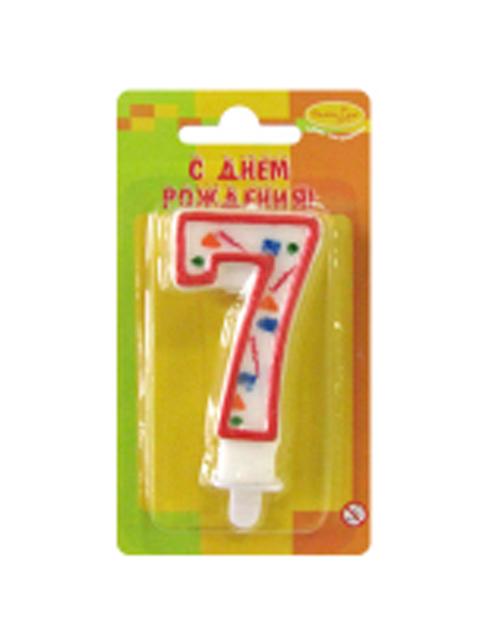 """Свеча-цифра """"7"""" красное конфетти"""