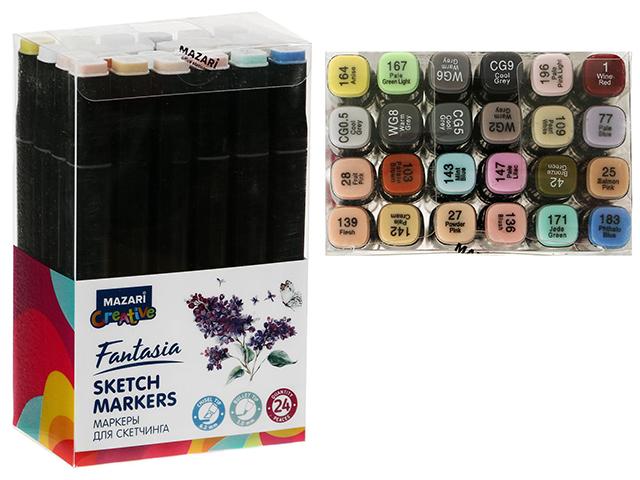 """Набор маркеров для скетчинга Mazari """"FANTASIA"""", 1-7 мм, двусторонние, 24 цвета (серые пастельные цвета)"""