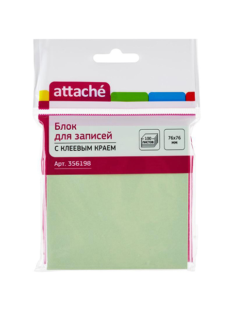 Блок для записей с клеевым краем Attache 76х76 мм 100 листов, салатовый