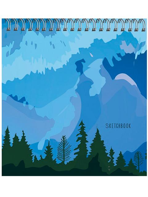 """Скетчбук А6+ (165х165) 50 листов Paper Art """"Туманные горы"""" обл. 7БЦ матовая ламинация, на евроспирали"""