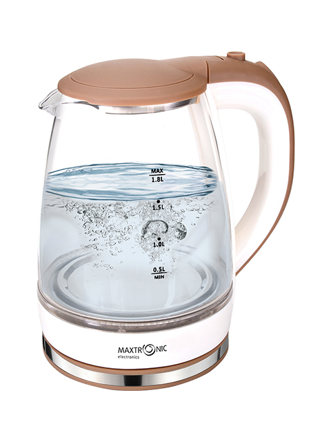 Чайник электрический MAXTRONIC МАХ -101, 1,8 л, 1800 Вт, жаропрочное стекло