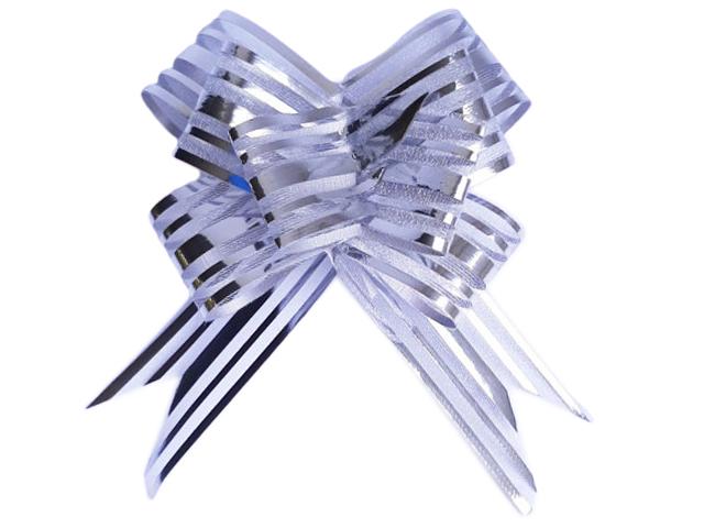 """Бант оформительский органза """"Бабочка"""" 3 см, серебро (10 штук в упаковке)"""