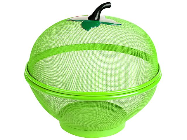 """Корзинка для фруктов """"Умничка"""" d-25.5см, с крышкой, зеленая"""