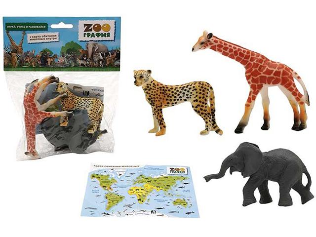 """Игровой набор """"ZOOграфия. Животные"""" с картой обитания, 3 шт, в пакете"""