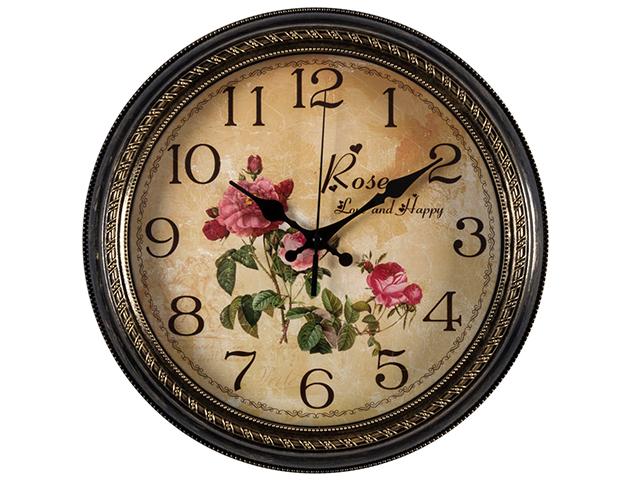 """Часы настенные """"Любовь и Счастье"""" круг d-28,5см, корпус черный с золотом, 2950-110 (10)"""