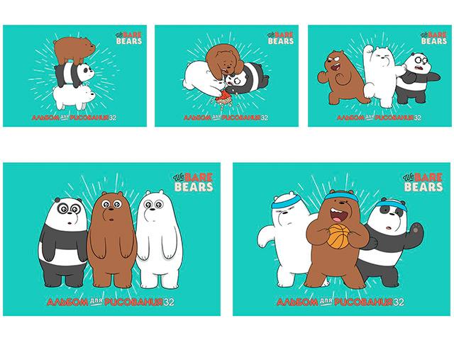 """Альбом для рисования А4 32 листа Хатбер """"Вся правда о медведях"""" на скрепке"""