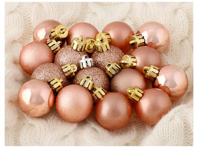 Набор елочных игрушек Шары Перламутр, 3 см, розовый,  пластик, 16 штук в упаковке